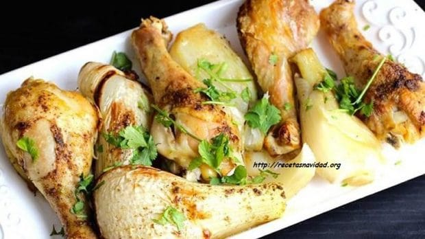 Receta de pollo con hinojo y manzana en recetas Navidad